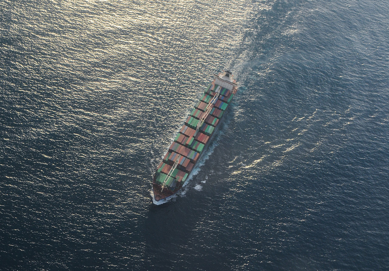 Bulk carrier in the sea. Maritime medical assistance